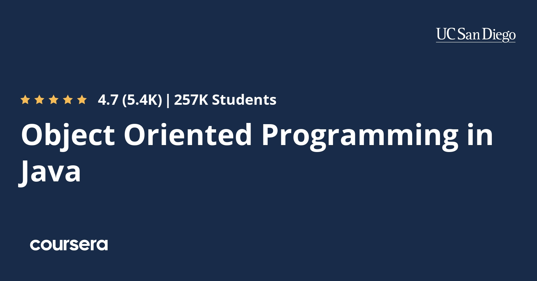 Object Oriented Programming In Java Coursera