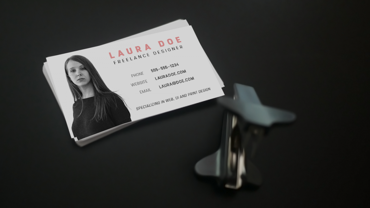 Design a business card for a freelance designer