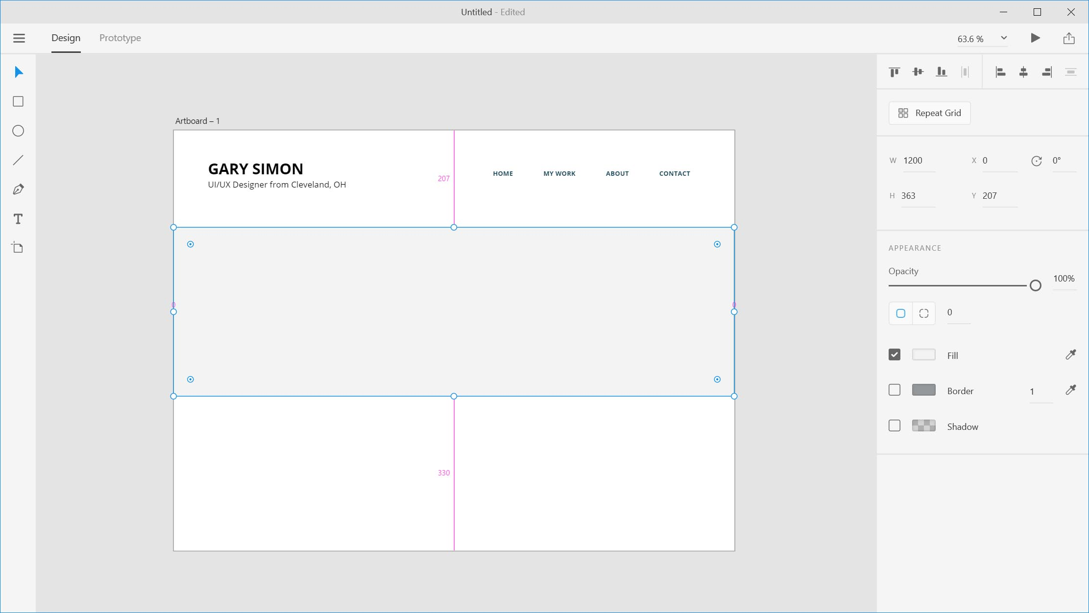 Website Design In Adobe Xd Tutorial Note This Is A Thumbnail Diagram Click On It To Enlarge We Need Use The Rectangle Tool Draw Out Container That Will House All Of Our Thumbnails Drag Spans Entire Width
