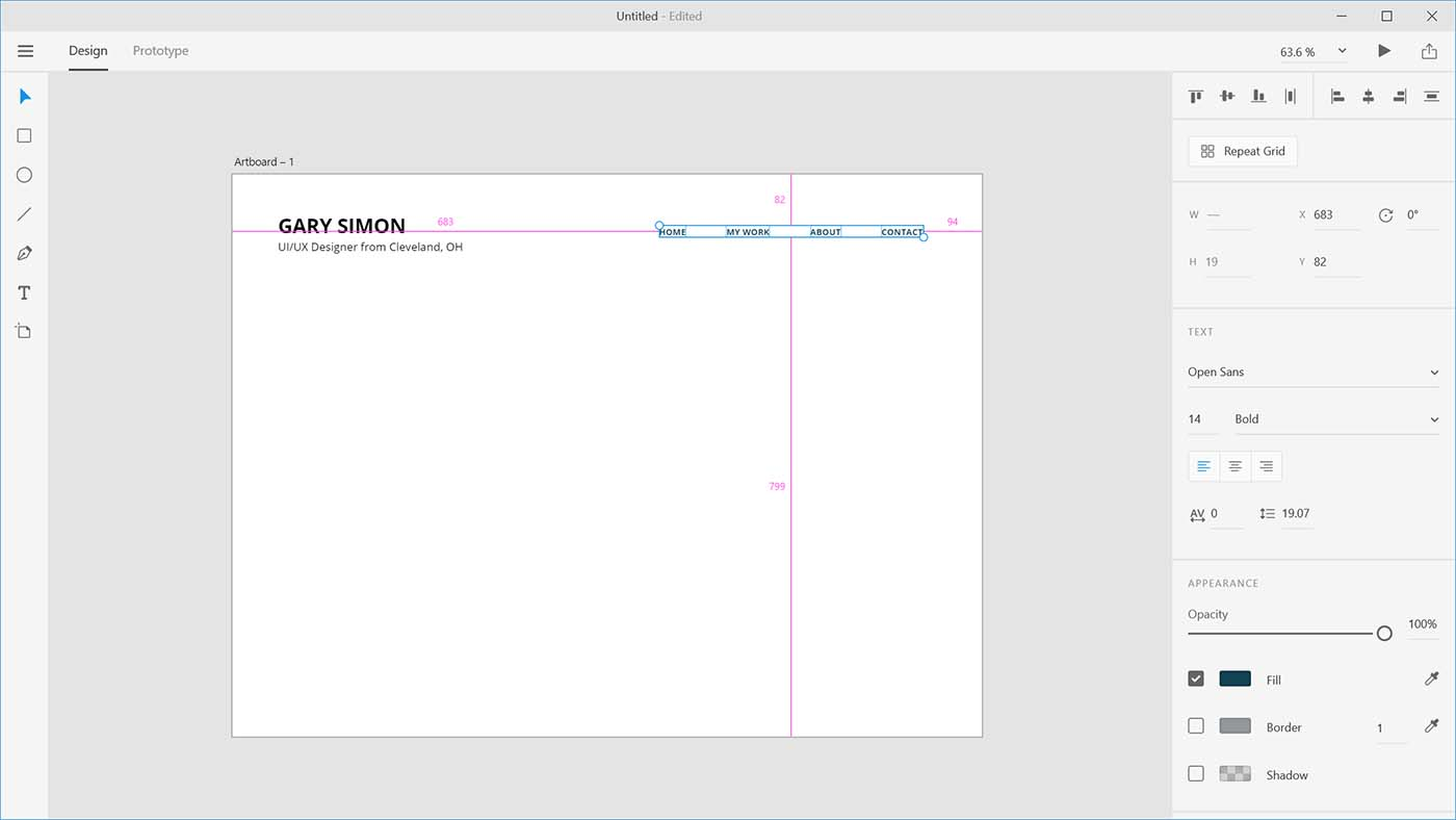 adobe xd menu
