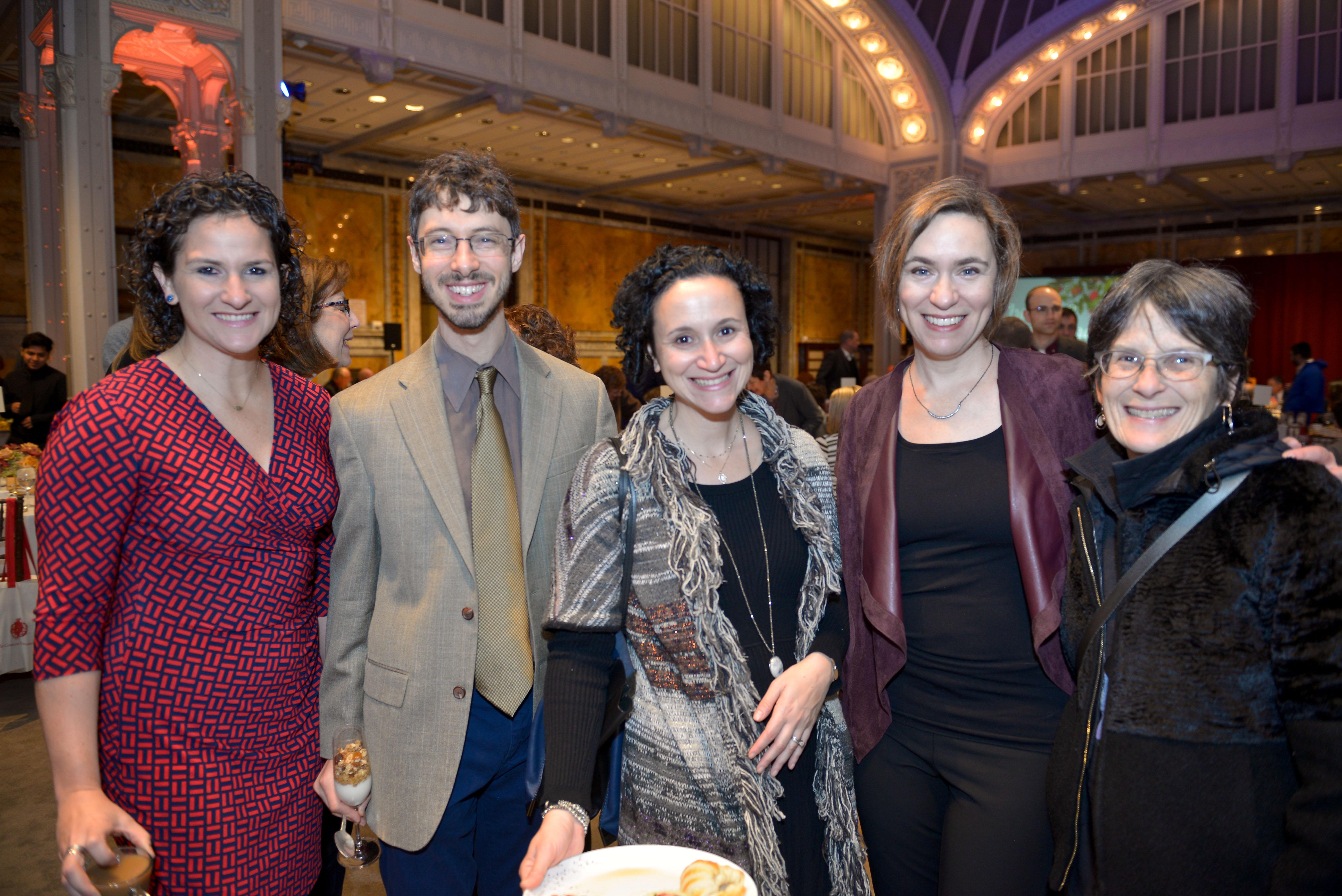 From left: 2018 Pomegranate Prize Recipient Maiya Chard-Yaron, Rabbi Lev Meirowitz Nelson, Dr. Miriam Heller Stern, Dr. Judith Rosenbaum, and Rabbi Sharon Cohen Anisfeld.