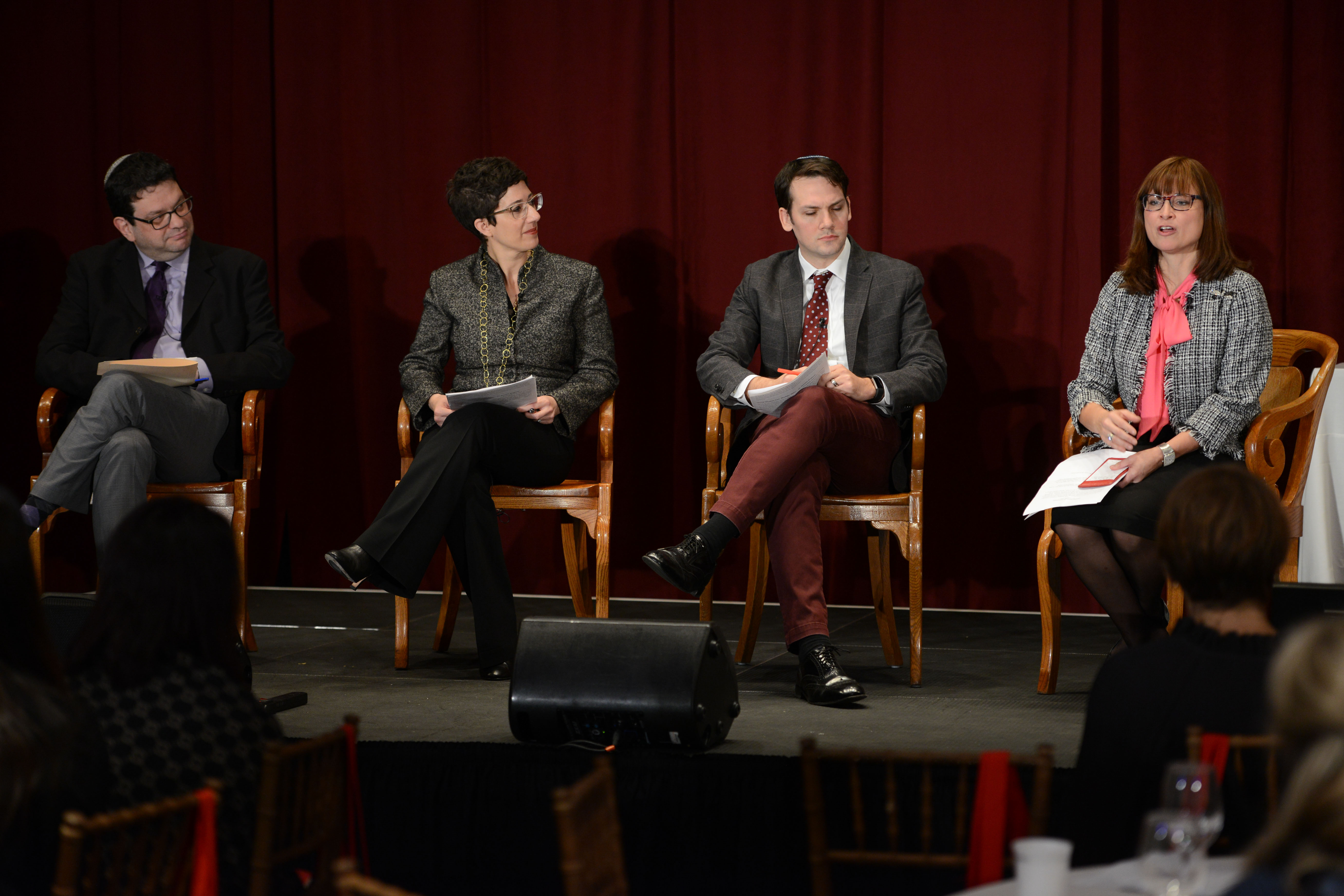 Jewish Paths to Wisdom panelists. From left: 2011 Covenant Award Recipient Rabbi Shai Held, Noa Kushner, Dr. Yonatan Brafman, and 2009 Covenant Award Recipient Dr. Erica Brown.