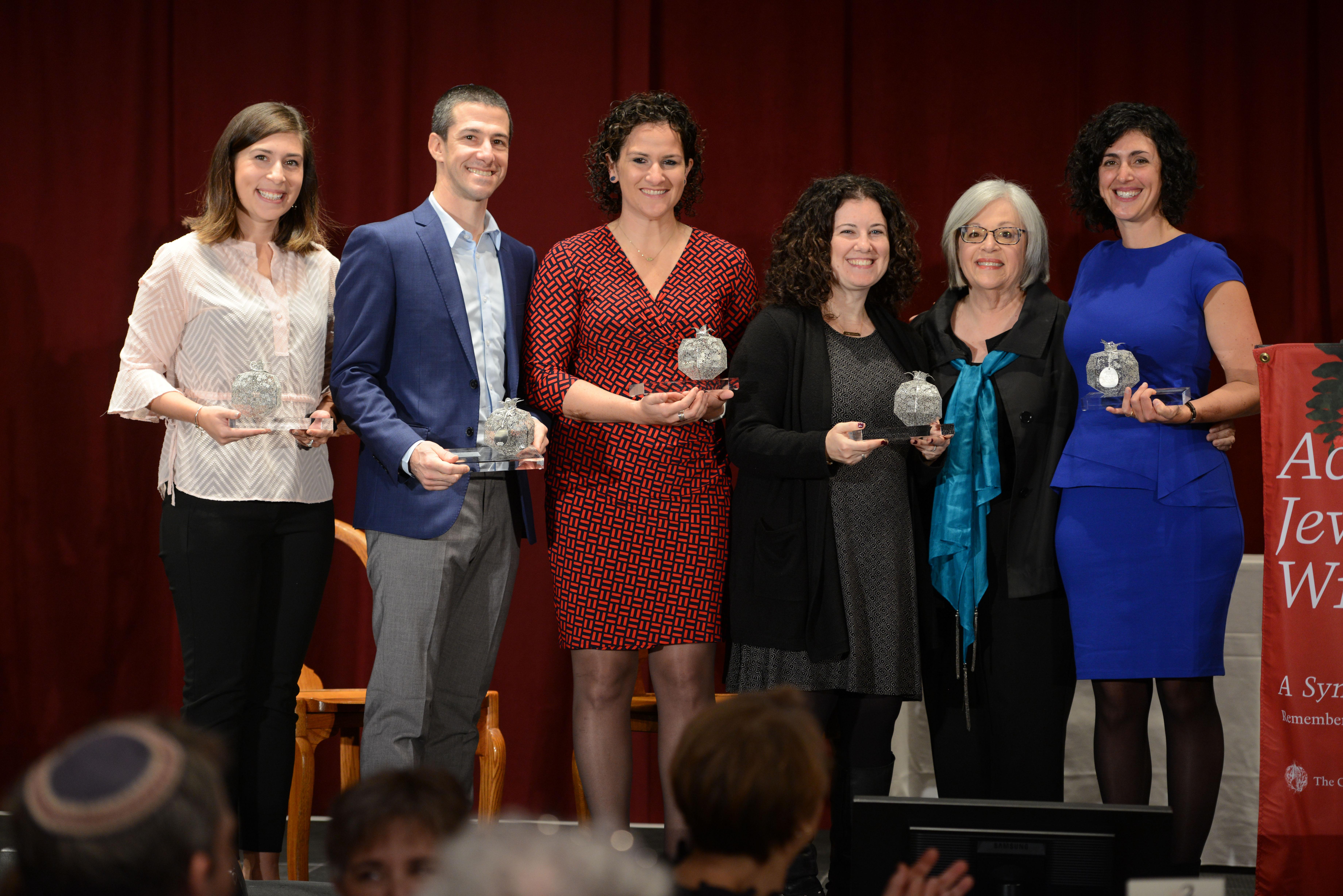 The 2018 Pomegranate Prize Recipients, with Covenant Foundation Board Chair Cheryl Finkel. From left: Hannah Kearney, Oren Kaunfer, Maiya Chard-Yaron, Ilana Gleicher-Bloom, Cheryl Finkel, and Rabbi Adina Allen.