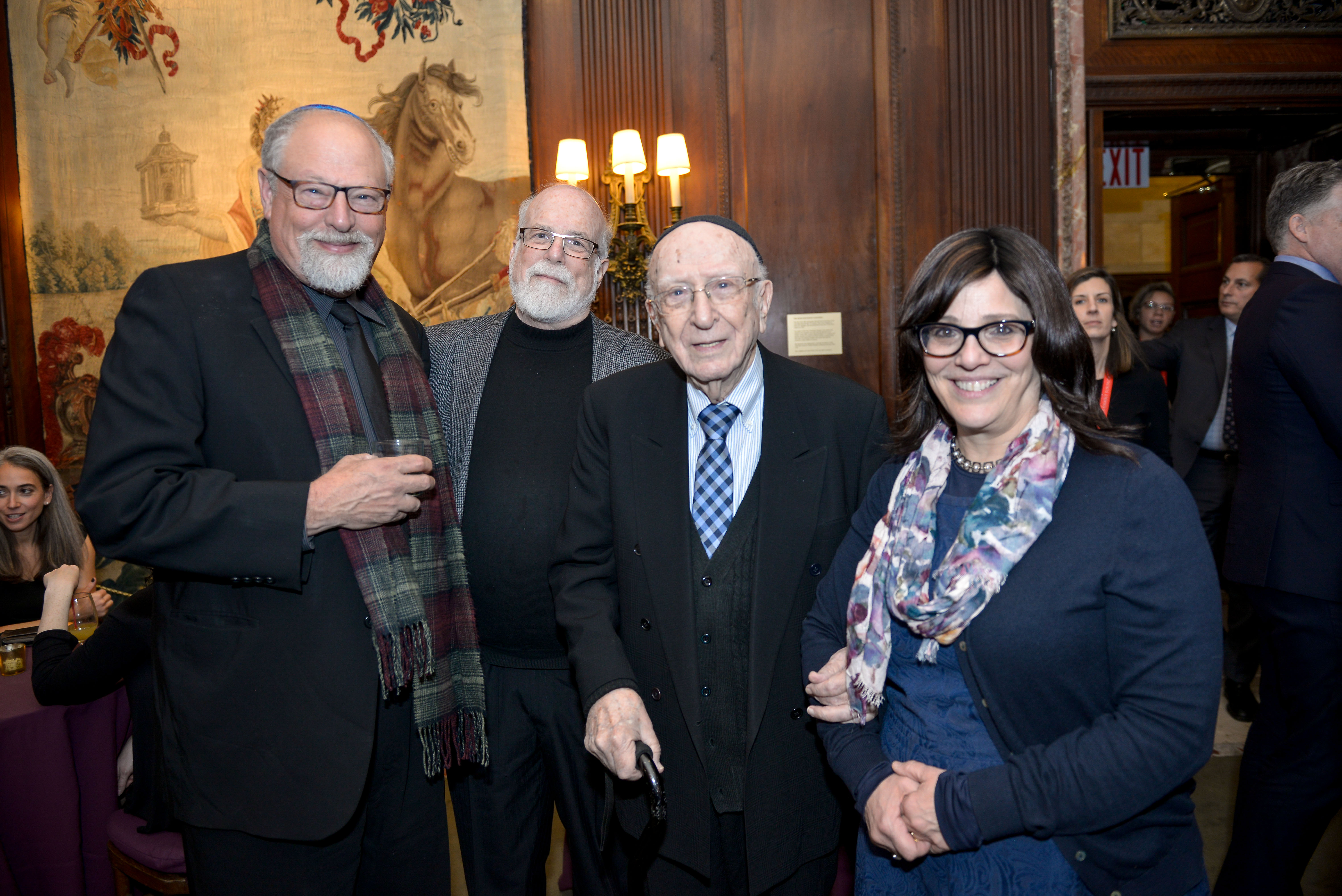 From left: 2002 Covenant Award Recipient Rabbi Peretz Wolf-Prusan, 2005 Covenant Award Recipient Jody Hirsh, 1992 Covenant Award Recipient Rabbi Israel David Eliach, and Smadar Rosensweig.