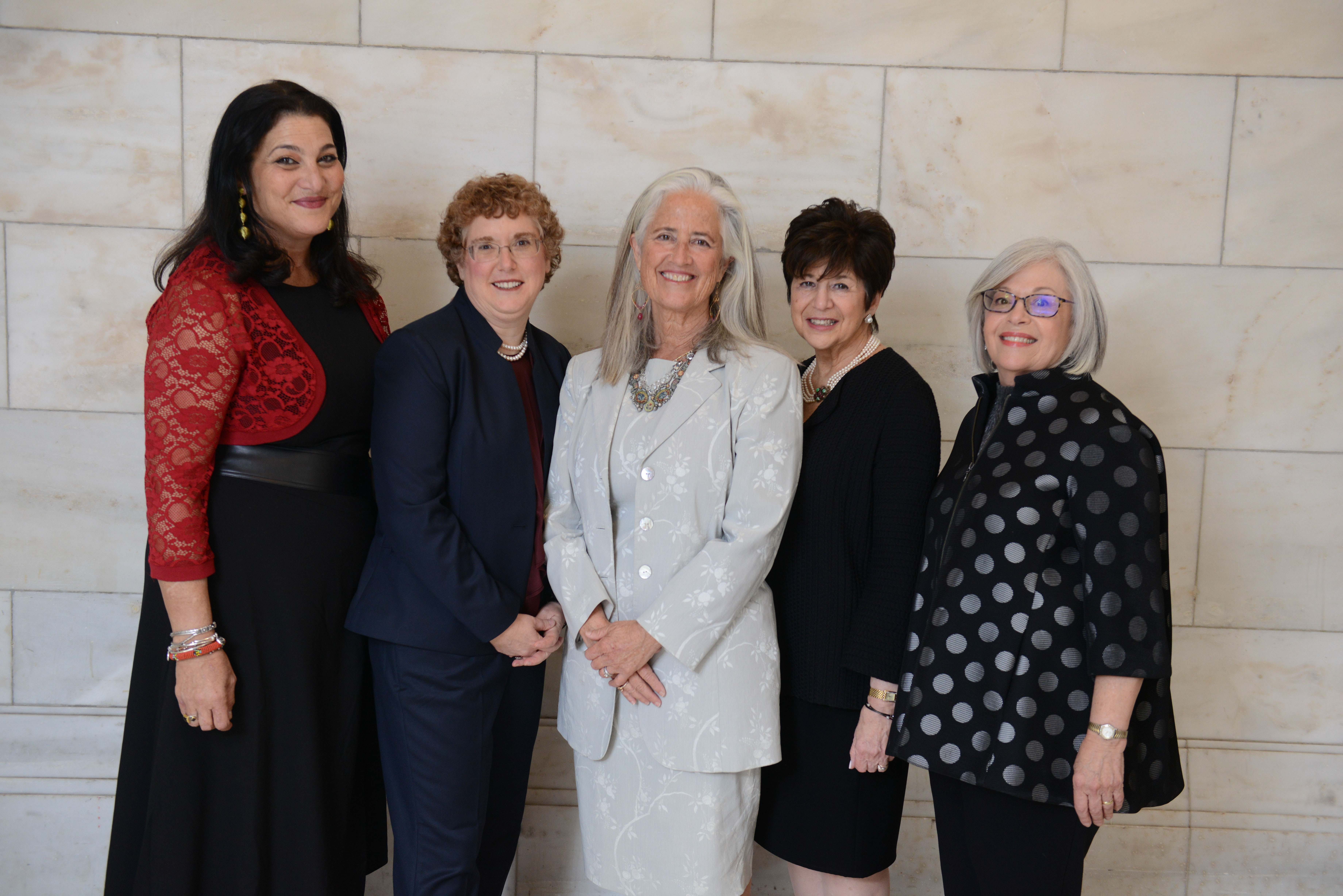 The 2018 Covenant Award Recipients with Covenant Executive Director Harlene Appelman and Covenant Board Chair Cheryl Finkel. From left: Naomi Ackerman, Dr. Susie Tanchel, Deborah Newbrun, Harlene Appelman, and Cheryl Finkel.