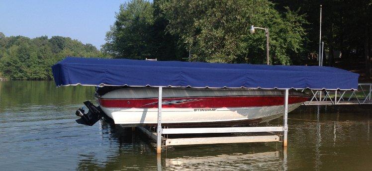 Stingray Boat With A Blue Lift Canopy Lake Bowen Sc
