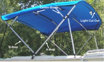 Square Tube Pontoon Bimini Replacement Canvas - Blue