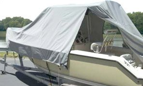 Dual Entry Hard Top Boat with an Open Carver Boat Cover