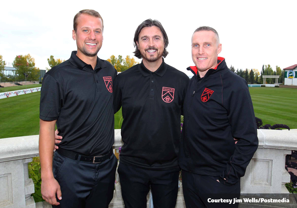 Cavalry FC's coaching staff of Jordan Santiago (L), Tommy Wheeldon Jr. (C) and Martin Nash (R). (Photo courtesy: Jim Wells, Postmedia)