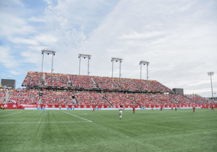 A sold-out crowd at Tim Hortons Field watch Canadas women's national team take on Germany on June 10. 2018. (Canada Soccer)