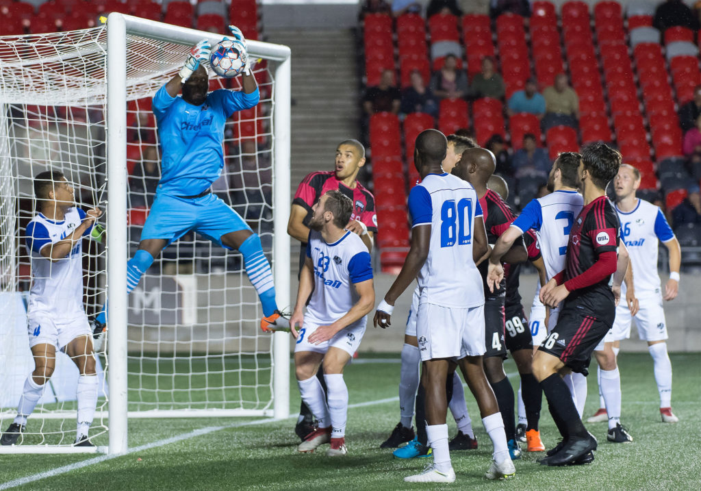 AS Blainville goalkeeper Erwann Ofouya gathers the ball in their second leg matchup with Ottawa Fury in the second round of the 2018 Canadian Championship. Canada Soccer
