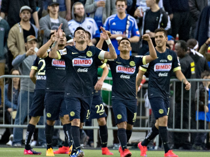 Club America celebrates a goal over Montreal Impact. (Canada Soccer).