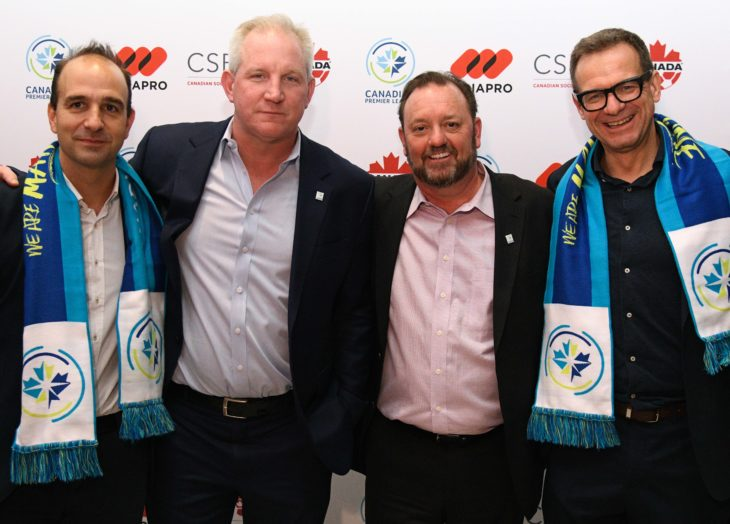 (L to R) MEDIAPRO Canada CEO Oscar Lopez, Canadian Soccer Business CEO Scott Mitchell, CPL Commissioner David Clanachan and MEDIAPRO Director of Sales and New Business Oliver Seibert. (Martin Bazyl, CPL)
