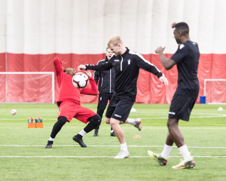 Forge FC's Kyle Bekker makes a move during pre-season training. (CPL)
