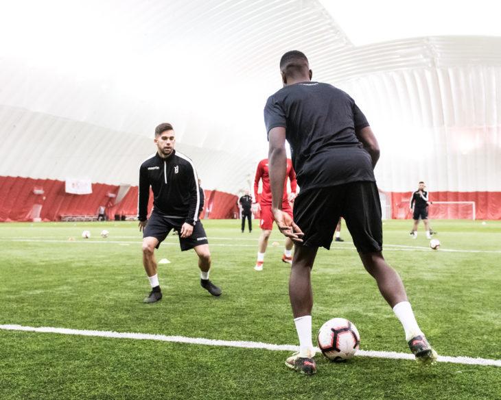 Forge FC during pre-season training in Hamilton. (CPL)