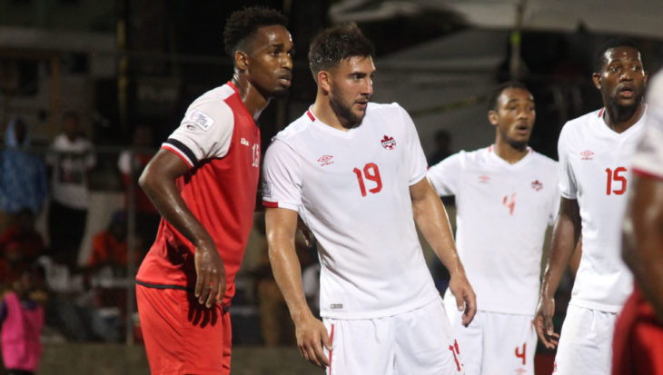 Lucas Cavallini during a Nations League qualifier in St. Kitts. (Canada Soccer)
