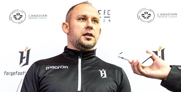 Forge FC head coach Bobby Smyrniotis.