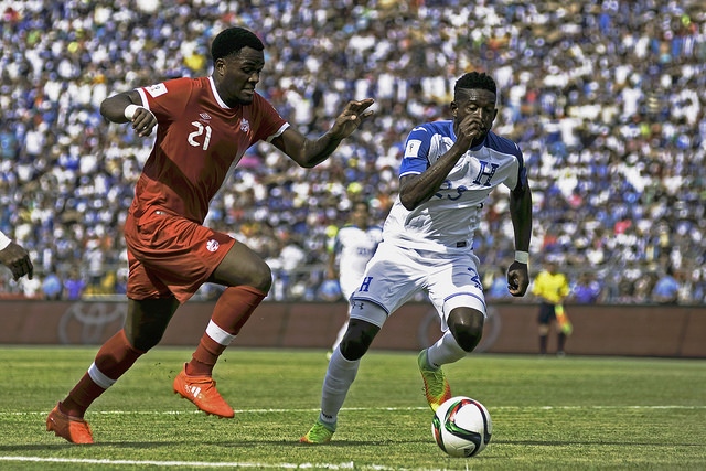Canada's Cyle Larin during a World Cup qualifier in San Pedro Sula, Honduras. (Canada Soccer)