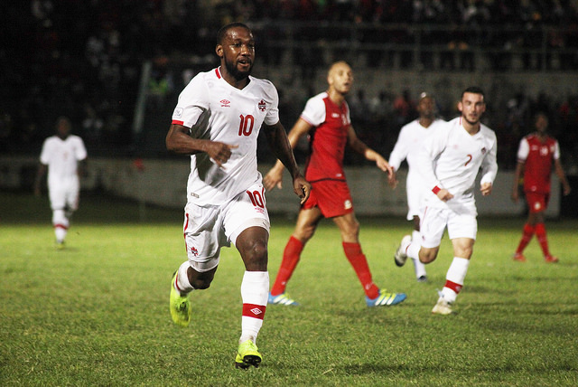 Junior Hoilett during a Nations League qualifier in St. Kitts. (Canada Soccer)
