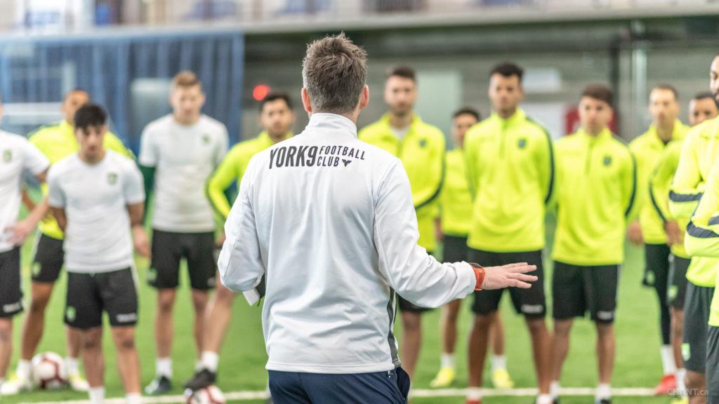 York9 head coach Jimmy Brennan instructing his team during a training session. (Photo courtesy York9/Chant.ca).