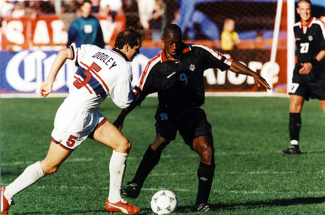 Canada's Alex Bunbury during a World Cup qualifier in the 1990s. (Canada Soccer)