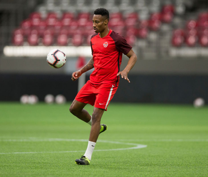 Canada's Mark-Anthony Kaye during training in Vancouver. (Canada Soccer)
