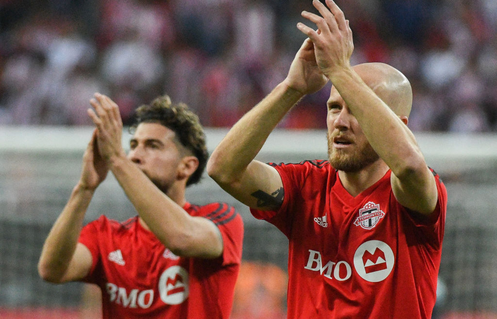 Canadian Jonathan Osorio (L) and American Michael Bradley (R) for Toronto FC. (Canada Soccer).