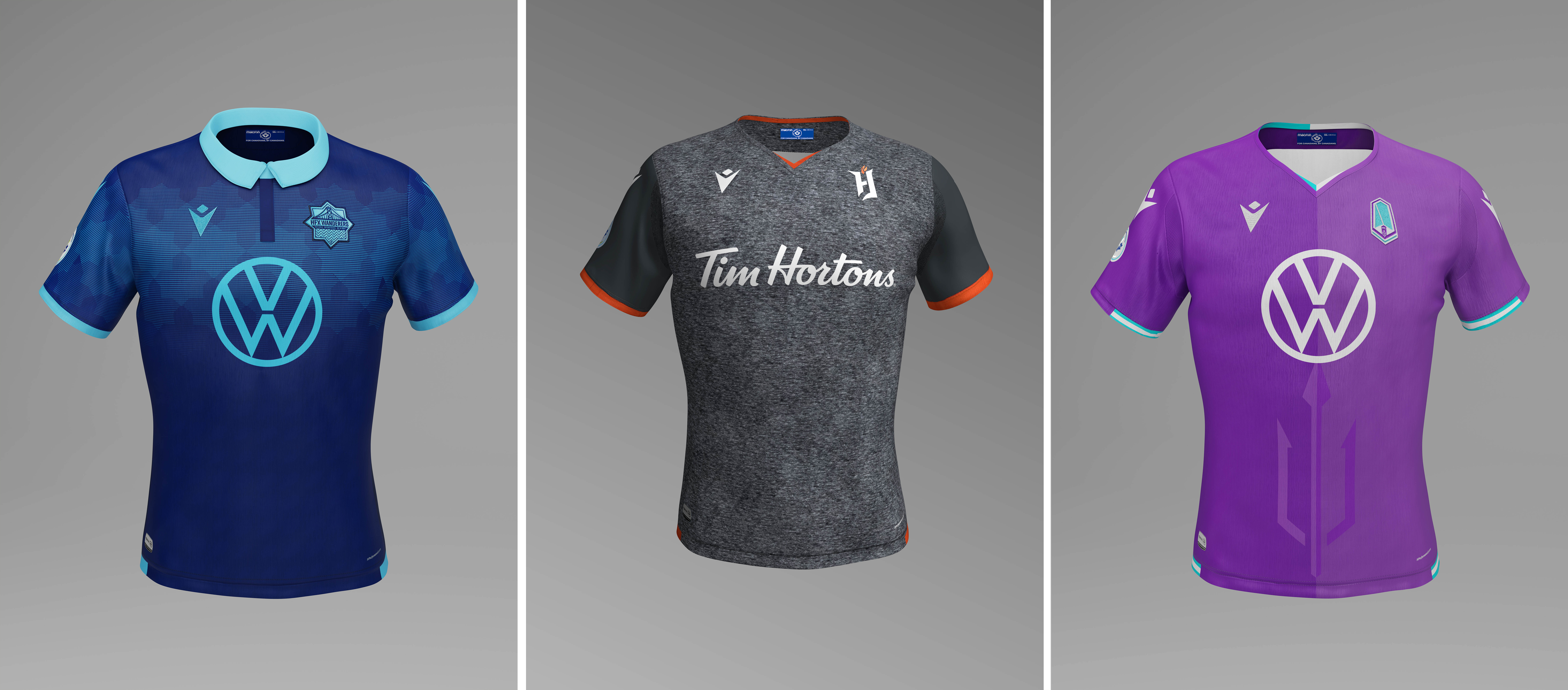 HFX Wanderers home (L), Forge FC away (C), and Pacific FC home (R).
