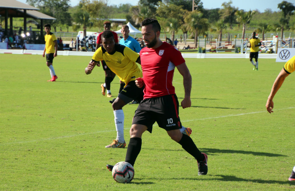 Sergio Camargo in action against local outfit Inter RD. (Photo: Jordan Santiago/Cavalry FC).