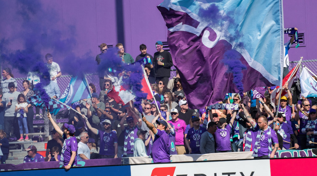 Pacific FC supporters ahead of the club's inaugural Canadian Premier League match. (James MacDonald/CPL).