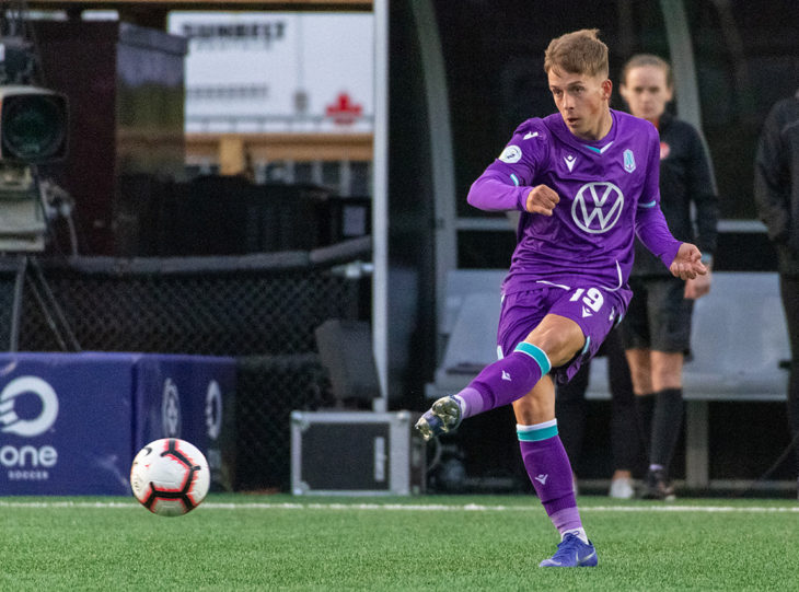 Pacific FC's Noah Verhoeven in action vs. Valour FC. (Photo: Gord Rufh/CPL).