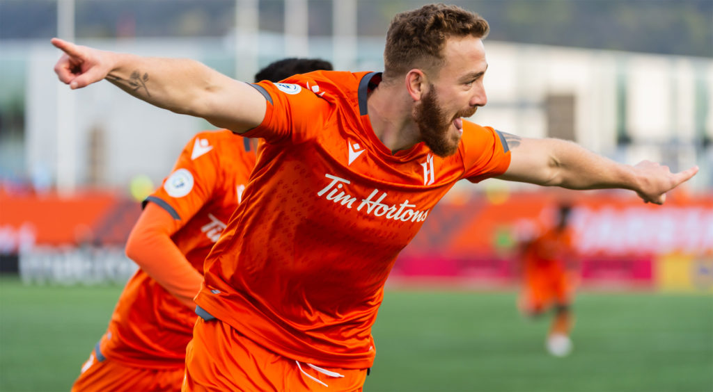 Anthony Novak of Forge FC celebrates his 1st goal vs. Pacific FC. (Photo: Ryan McCullough/CPL).