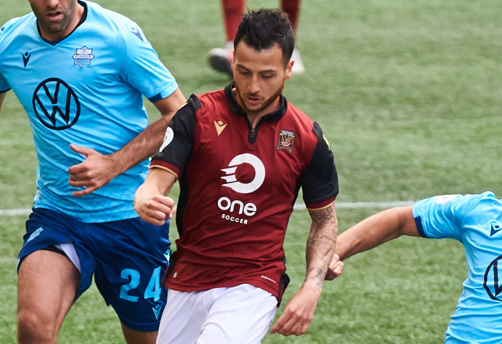 Valour's Marco Bustos makes his club debut against HFX Wanderers FC. (Photo: David Lipnowski/CPL).