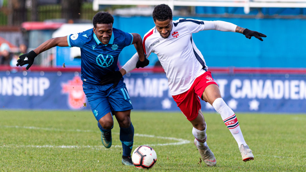 HFX Wanderers striker Akeem Garcia battles for the ball against a Vaughan Azzurri player in their first round, second leg match in the Canadian Championship. (Trevor MacMillan/CPL)