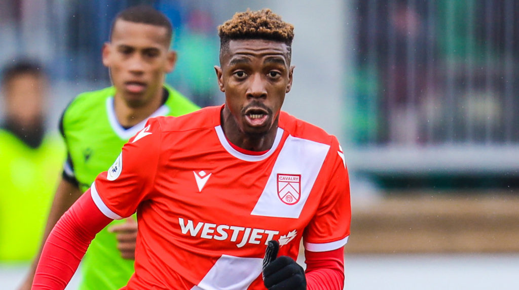 Cavalry FC attacker Dominique Malonga controls the ball against York9 FC. (Sergei Belski-USA TODAY Sports for CPL).