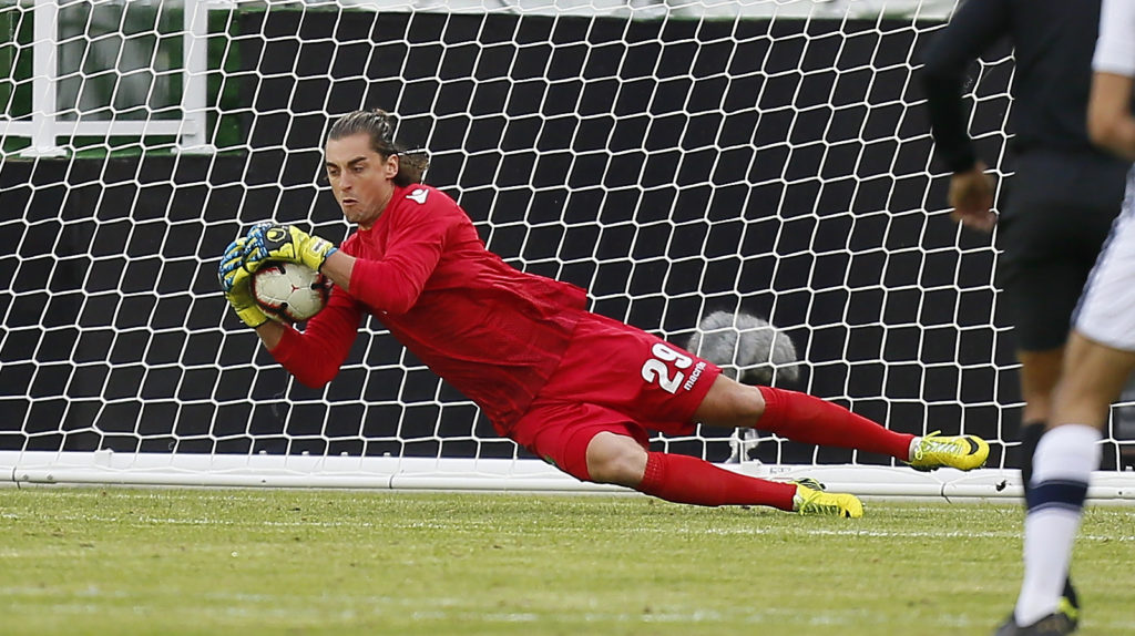 York9 FC goalkeeper Natahn Ingham (29) makes a save against A.S. Blainville during the Canadian Championship soccer match at York Lions Stadium. Mandatory Credit: John E. Sokolowski-USA TODAY Sports for CPL