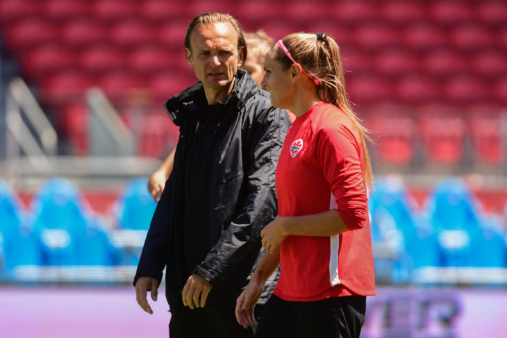Kenneth Heiner-Moller and Shelina Zadorsky during training. (Photo: Martin Bazyl/Canada Soccer).