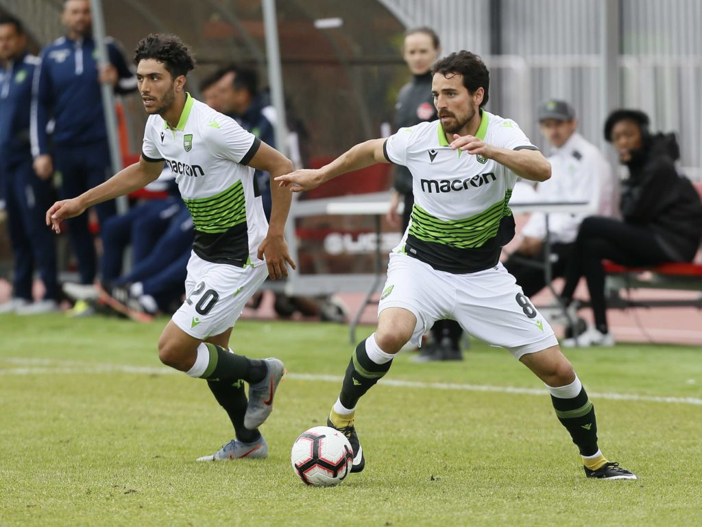 York9 FC midfielder Joseph Di Chiara (8) and midfielder Diyaeddine Abzi (20) advance the ball during a Canadian Premier League soccer match at York Lions Stadium. (Photo: John E. Sokolowski-USA TODAY Sports for CPL).
