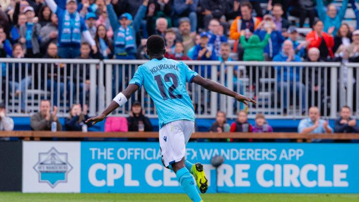 HFX Wanderers midfielder Mohammad Kourouma celebrates first-half goal over Valour. (Trevor MacMillan/CPL).