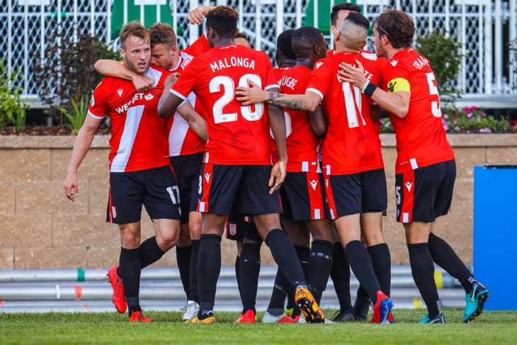 Jun 11, 2019; Calgary, Alberta, CAN; Cavalry FC midfielder Sergio Andres Camargo (10) celebrates with teammates after a goal against the Forge FC in the second half during a Canadian Championship soccer match at Spruce Meadows. Mandatory Credit: Sergei Belski-USA TODAY Sports for CPL