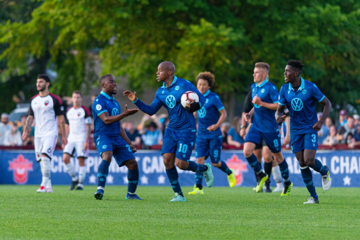 HFX Wanderers FC celebrate a goal. (Trevor MacMillan/CPL)
