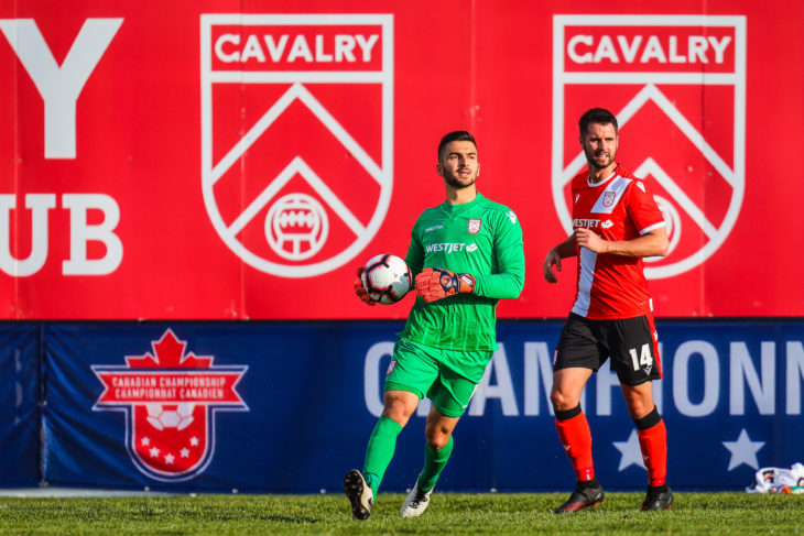 Cavalry FC goalkeeper Marco Carducci (1) controls the ball against the Vancouver Whitecaps during the first half during a Canadian Championship soccer match at Spruce Meadows. (Photo: Sergei Belski-USA TODAY Sports for CPL)