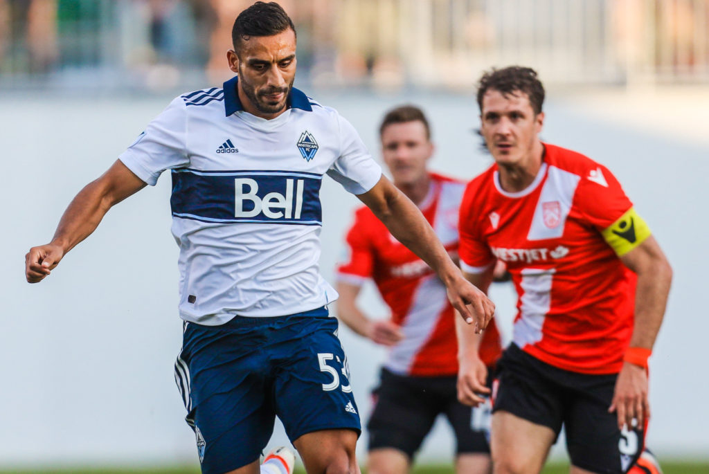 Vancouver Whitecaps defender Ali Al-Tameemi (53) controls the ball against the Cavalry FC during the second half of a Canadian Championship soccer match at Spruce Meadows. Mandatory Credit: Sergei Belski-USA TODAY Sports for CPL