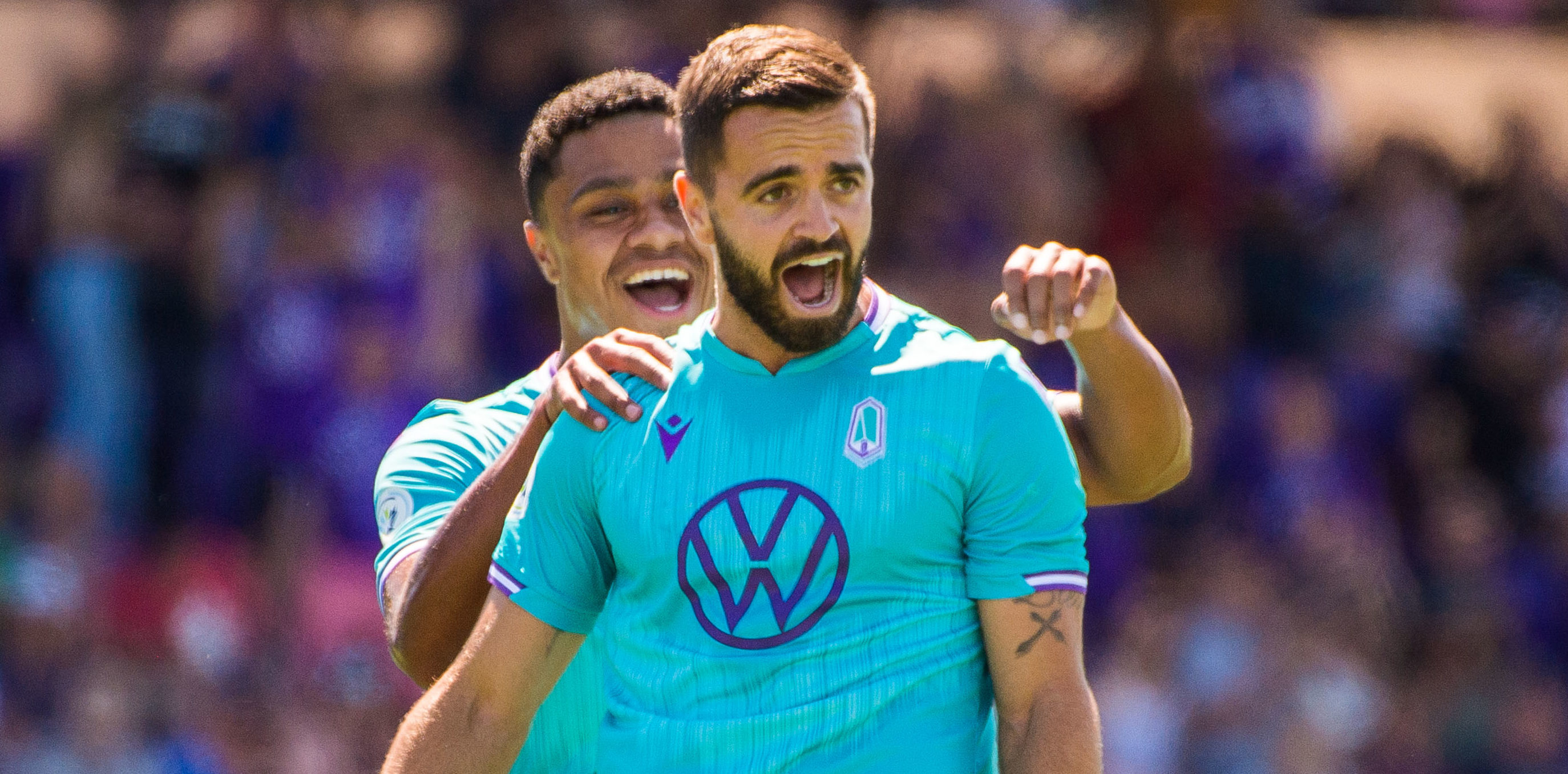 Pacific FC's Victor Blasco (23) and Terran Campbell celebrates goals over HFX at Westhills Stadium. (Photo: Pacific FC).