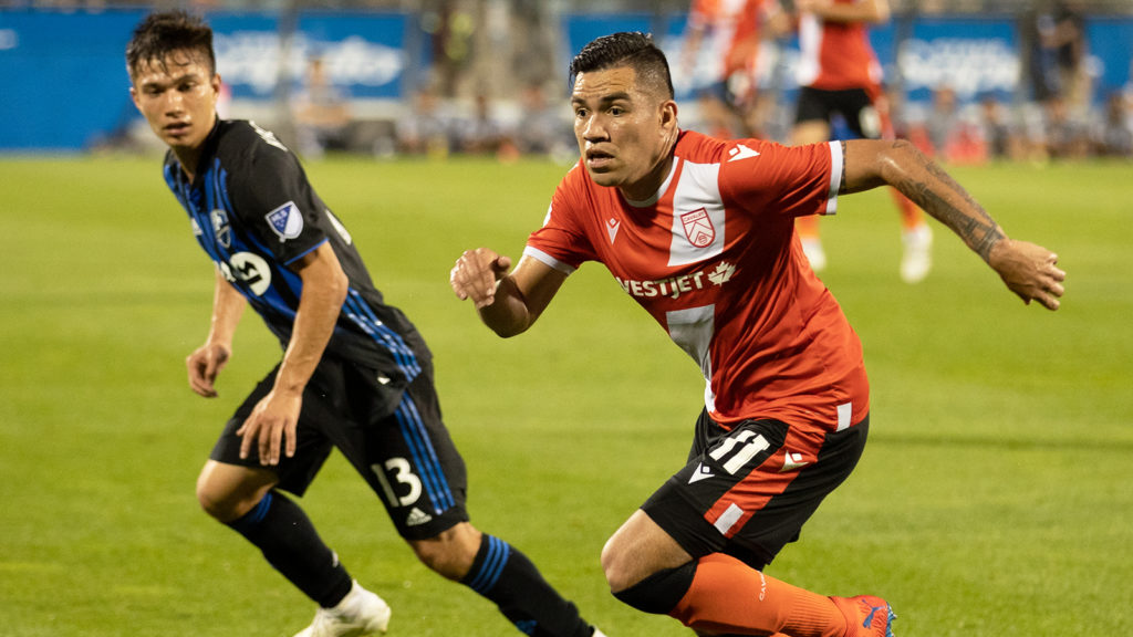 Cavalry FC's Jose Escalante takes on the Montreal Impact in Canadian Championship play. (Photo: Nora Stankovic/CPL)