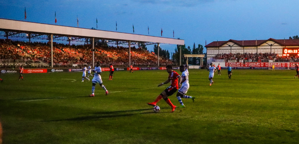 General view of the soccer pitch between the Cavalry FC and the Montreal Impact during the second half during the Canadian Championship Semi-final soccer match at Spruce Meadows. Mandatory Credit: Sergei Belski-USA TODAY Sports for CPL