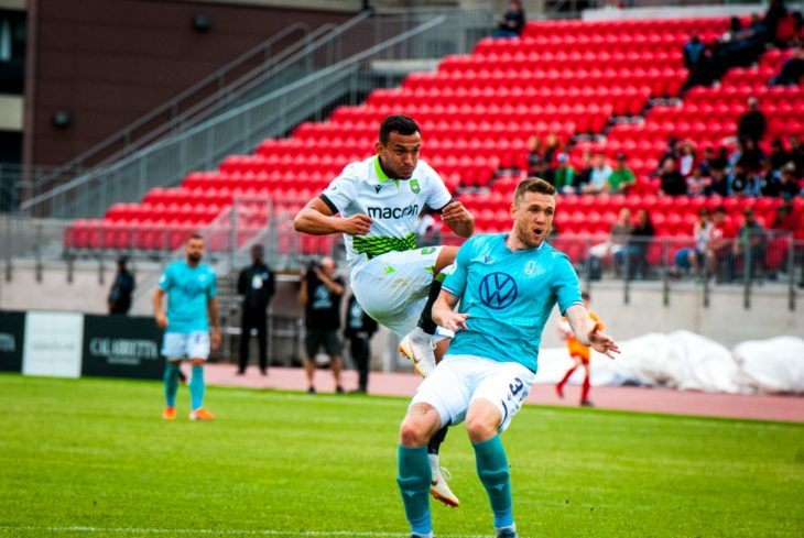 Rodrigo Gattas, left, in action for York9 FC. (Photo: Casey Wolfgang)