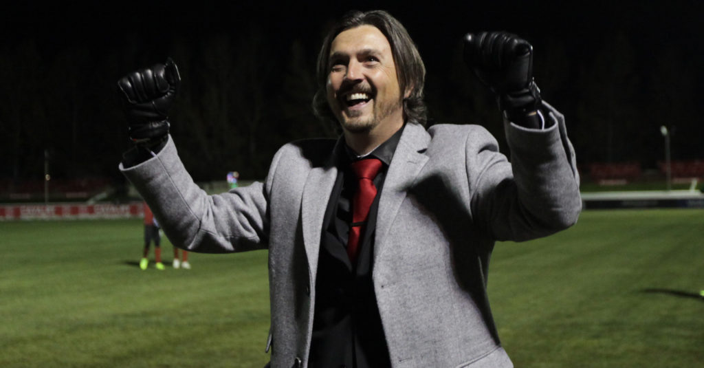 Cavalry FC coach Tommy Wheeldon reacts to the crowd after his team beat Valour FC. (Photo: Jack Cusano/CPL).