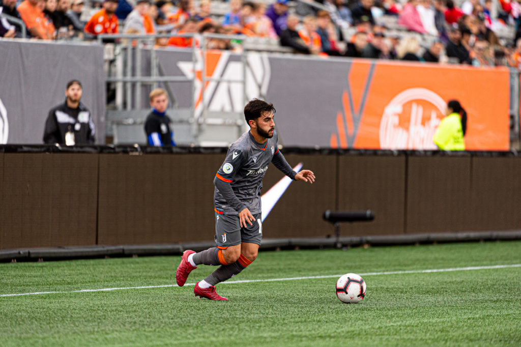 Tristan Borges of Forge FC in action. Photo: Ryan McCullough/CPL