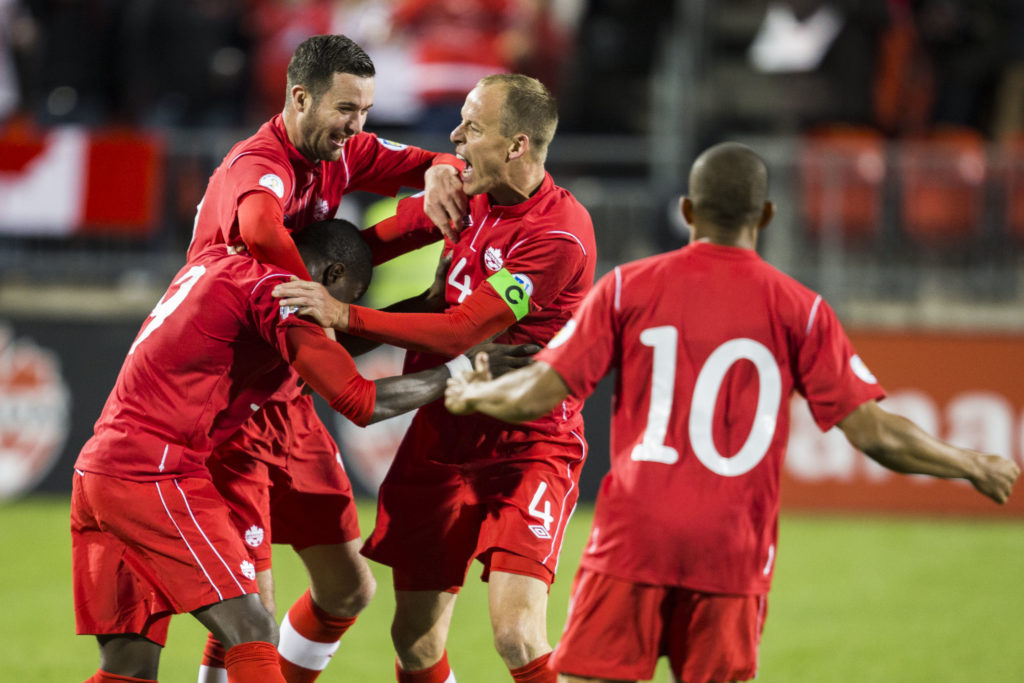 FIFA World Cup Qualifiers 12 October 2012 - Toronto, ON Canada Soccer / Paul Giamou Goal celebration with Tosaint Ricketts, David Edgar, Kevin McKenna and Simeon Jackson
